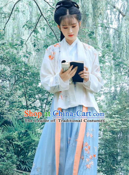 Traditional Chinese Song Dynasty Palace Princess Hanfu Embroidered Maple Leaf Costume Complete Set for Women