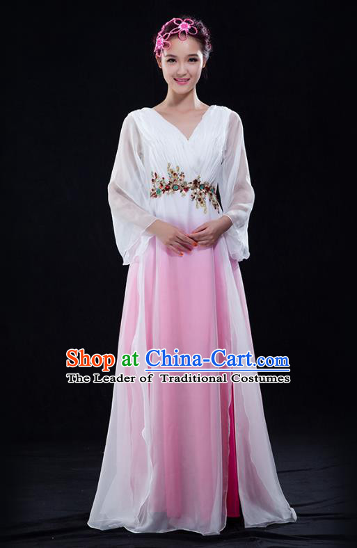 Traditional Chinese Modern Dance Costume Opening Chorus Singing Group Bubble Dress for Women