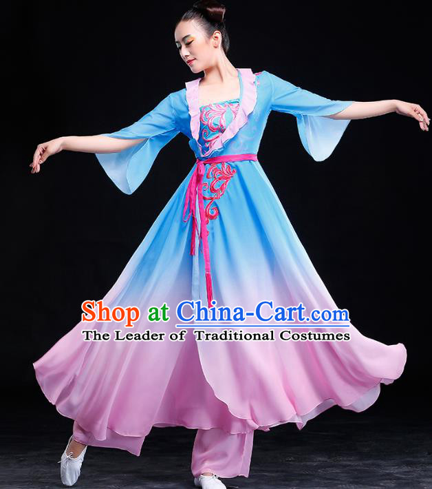 Traditional Chinese Classical Yangge Dance Embroidered Costume, China Yangko Dance Blue Dress Clothing for Women