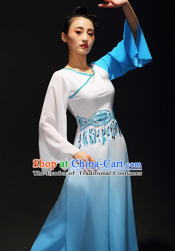 Traditional Chinese Classical Dance Costume, China Yangko Dance Fan Dance Hanfu Blue Clothing for Women