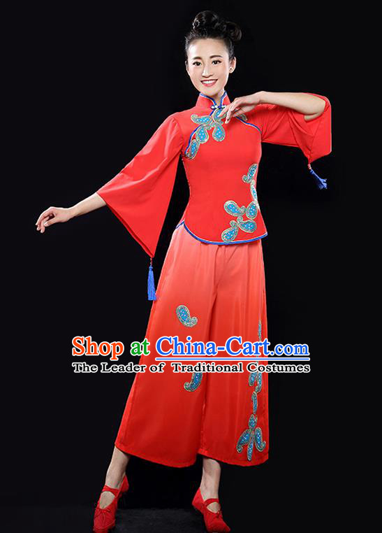 Traditional Chinese Classical Yangge Dance Red Uniforms Embroidered Costume, China Yangko Dance Dress Clothing for Women