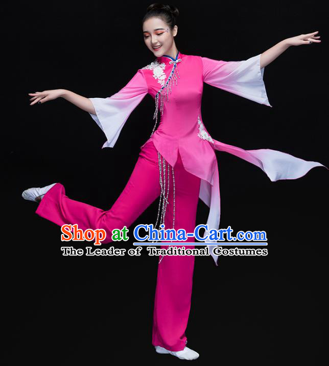 Traditional Chinese Classical Umbrella Dance Costume, China Folk Dance Yangko Pink Clothing for Women