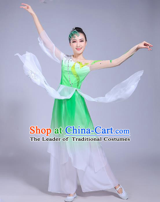 Traditional Chinese Classical Umbrella Dance Embroidered Costume, China Yangko Folk Dance Green Clothing for Women
