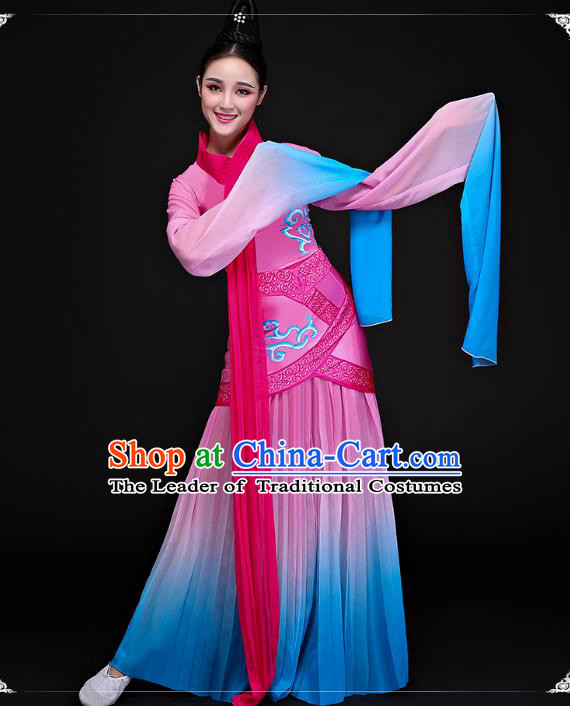 Traditional Chinese Ancient Palace Lady Dance Clothing Classical Water Sleeve Dance Dress Costume for Women