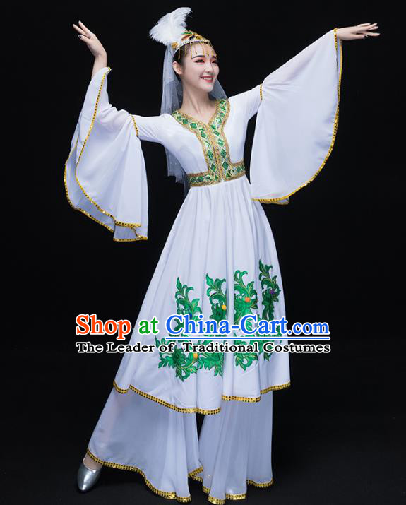 Traditional Chinese Uyghur Nationality Dance Costume, Chinese Uigurian Minority Nationality Dance Dress Clothing for Women