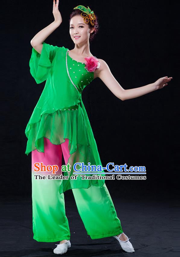 Traditional Chinese Classical Yangge Fan Dance Green Costume, China Yangko Folk Dance Clothing for Women
