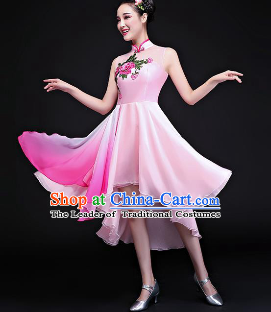 Traditional Chinese Classical Fan Dance Embroidered Pink Cheongsam Dress, China Yangko Folk Dance Clothing for Women