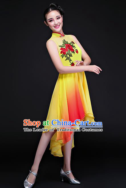 Traditional Chinese Classical Fan Dance Embroidered Yellow Cheongsam Dress, China Yangko Folk Dance Clothing for Women