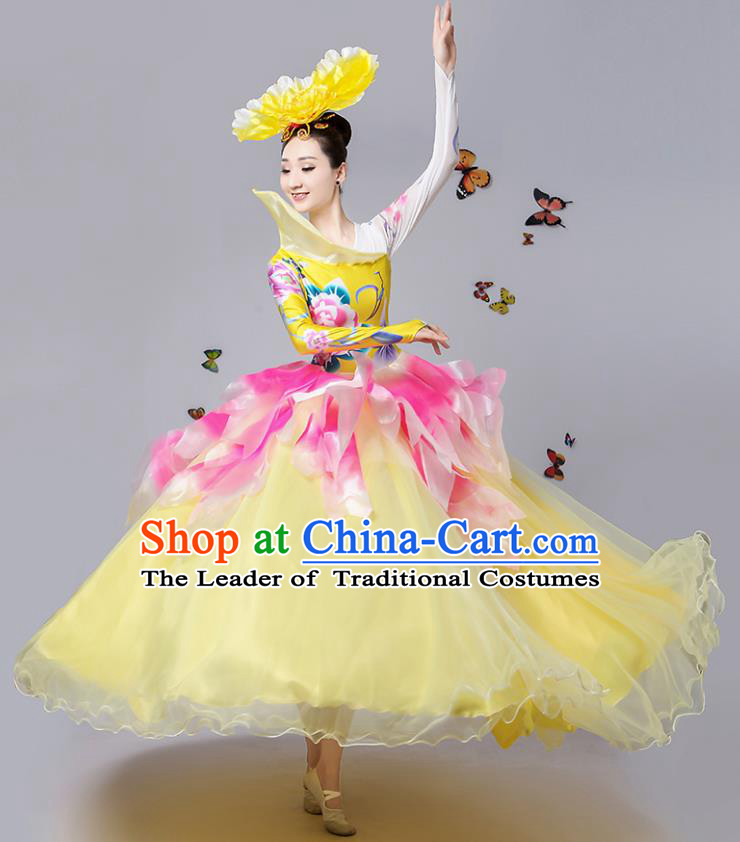 Traditional Chinese Modern Dance Opening Dance Bubble Dress Clothing for Women