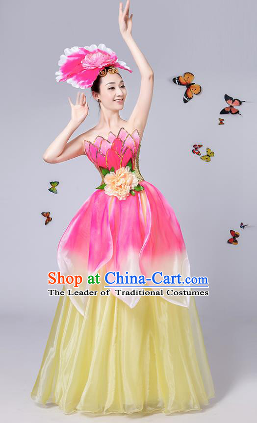Traditional Chinese Modern Dance Opening Dance Dress, China Folk Dance Lotus Dance Clothing for Women
