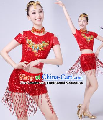 cbfef17a4e60 Traditional Chinese Modern Dance Opening Dance Jazz Dance Red Paillette Uniform  Folk Dance Chorus Costume for Women