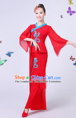 Traditional Chinese Classical Umbrella Dance Costume, China Yangko Folk Fan Dance Red Clothing for Women