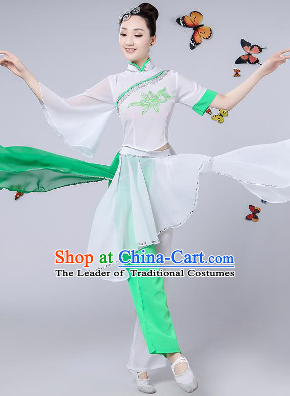 Traditional Chinese Classical Umbrella Dance Costume, China Yangko Folk Fan Dance Clothing for Women