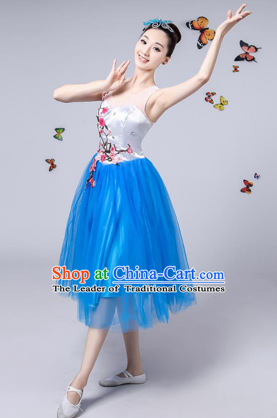 Traditional Chinese Modern Dance Opening Dance Clothing Chorus Blue Veil Dress Costume for Women