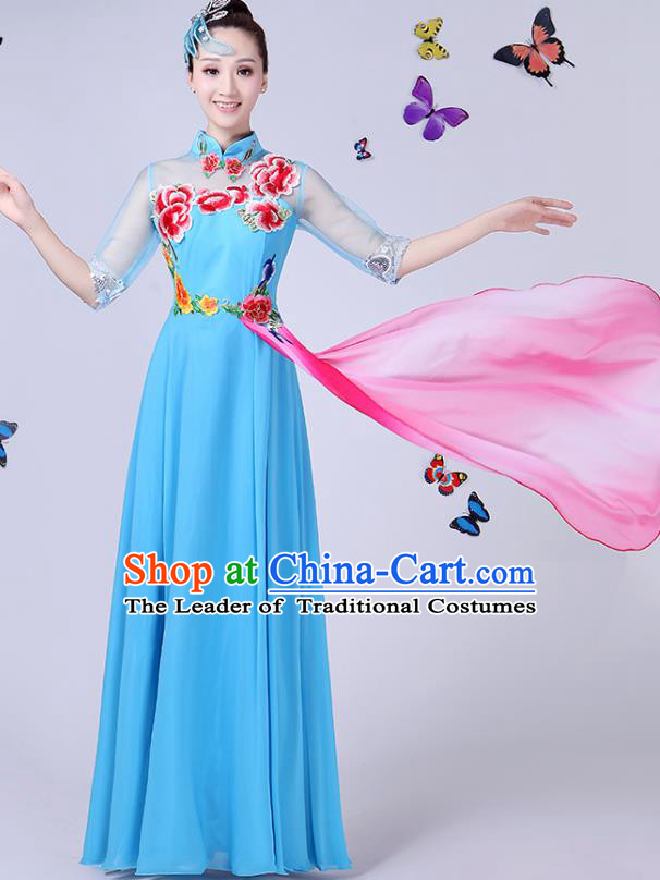 Traditional Chinese Modern Dance Opening Dance Clothing Chorus Blue Cheongsam Dress Costume for Women