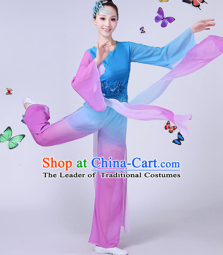 Traditional Chinese Classical Umbrella Dance Blue Costume, China Yangko Folk Fan Dance Clothing for Women