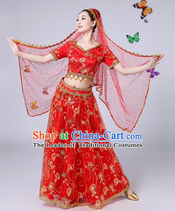 Traditional Chinese Uyghur Nationality Dance Costume, Chinese Uigurian Minority Nationality Dance Red Clothing for Women