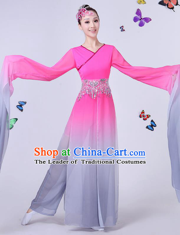 Traditional Chinese Classical Umbrella Dance Water Sleeve Pink Costume, China Yangko Folk Fan Dance Clothing for Women