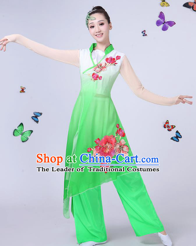 Traditional Chinese Classical Umbrella Dance Green Embroidered Costume, China Yangko Folk Fan Dance Clothing for Women
