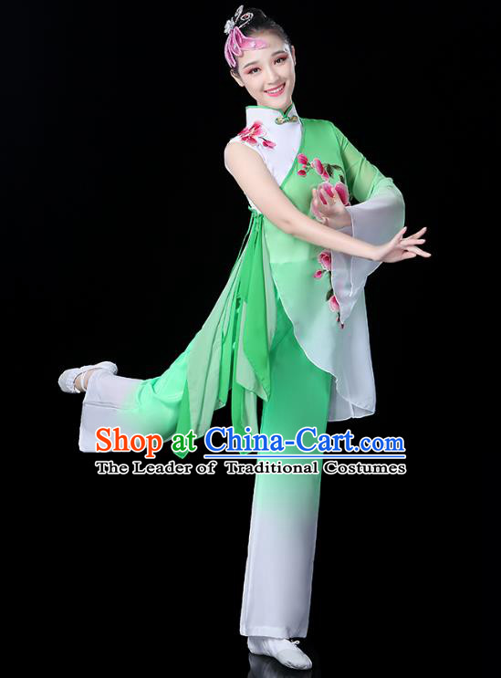 Traditional Chinese Classical Fan Dance Embroidered Costume, China Yangko Folk Dance Green Clothing for Women