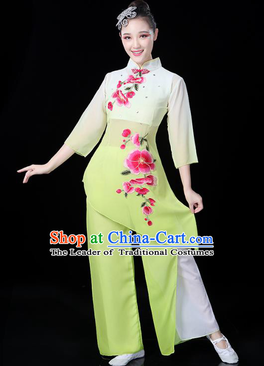 Traditional Chinese Classical Fan Dance Embroidered Costume, China Yangko Folk Dance Yellow Clothing for Women