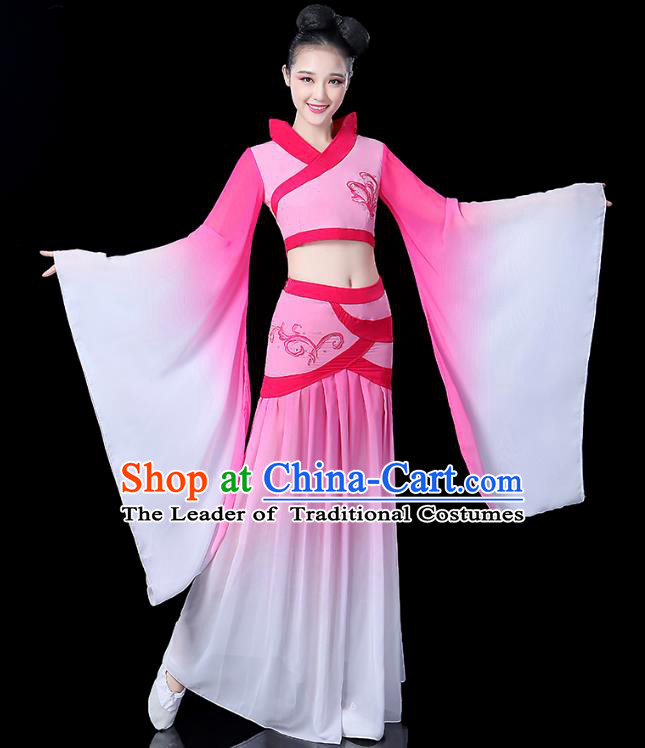 Traditional Chinese Classical Dance Embroidered Costume, China Yangko Fairy Folk Dance Pink Clothing for Women