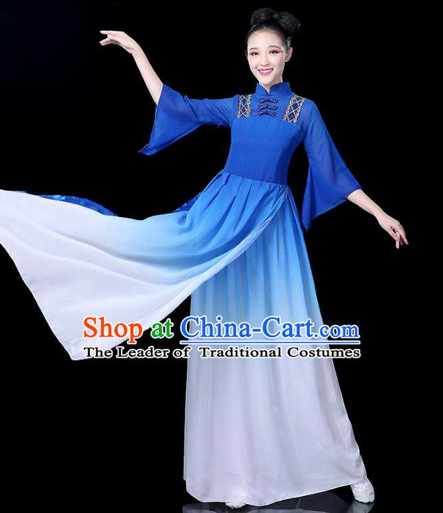Traditional Chinese Classical Dance Costume Blue Dress, China Yangko Folk Umbrella Dance Clothing for Women