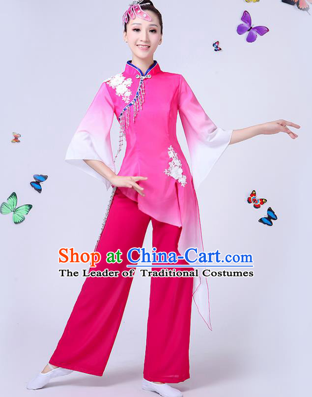 Traditional Chinese Classical Fan Dance Costume, China Yangko Folk Fan Dance Pink Clothing for Women