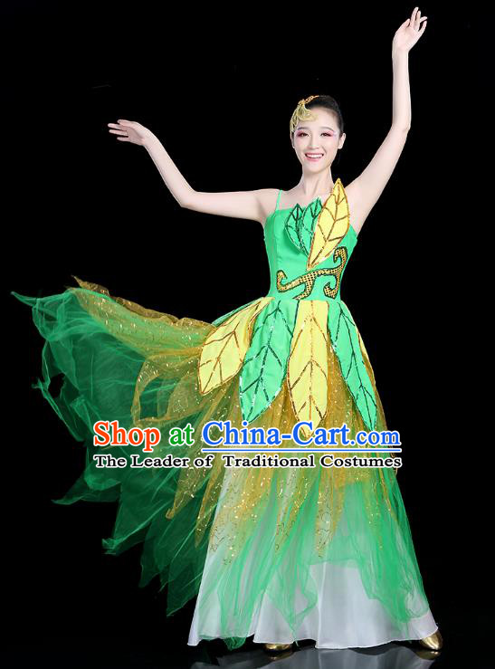 Traditional Chinese Modern Dance Opening Dance Clothing Chorus Green Bubble Dress for Women