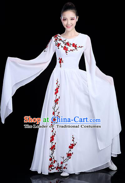 Traditional Chinese Modern Dance Opening Dance Clothing Chorus Competition White Dress for Women