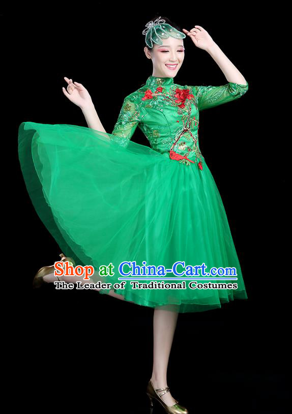 Traditional Chinese Modern Dance Opening Dance Clothing Chorus Competition Green Veil Bubble Dress for Women