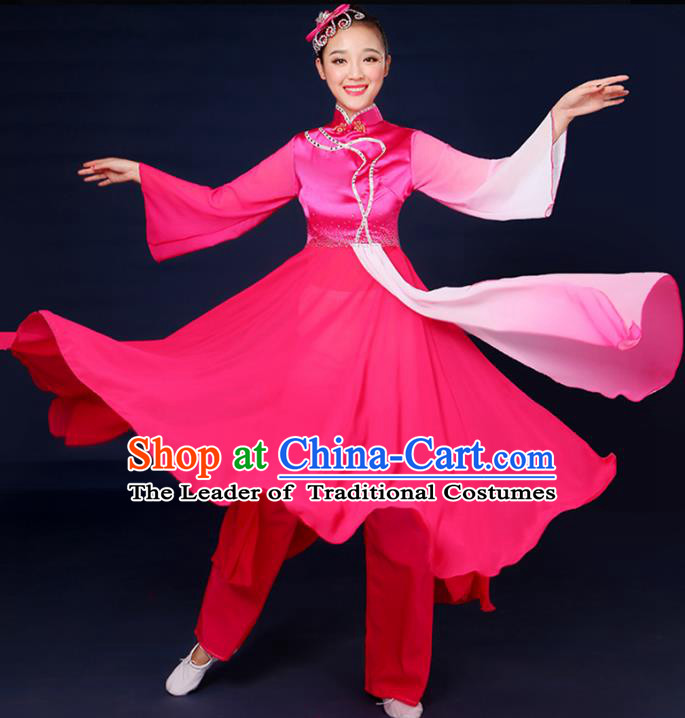 Traditional Chinese Yangge Fan Dance Embroidered Pink Dress, China Classical Folk Yangko Umbrella Dance Clothing for Women
