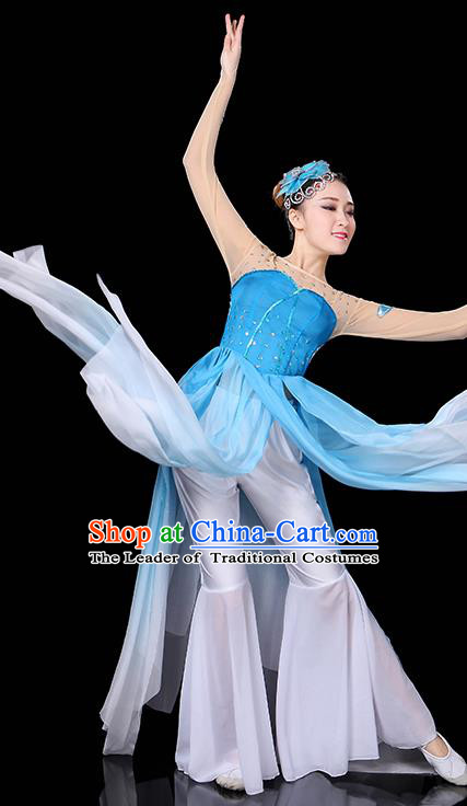 Traditional Chinese Modern Dance Opening Dance Clothing Chorus Yangko Fan Dance Blue Dress for Women