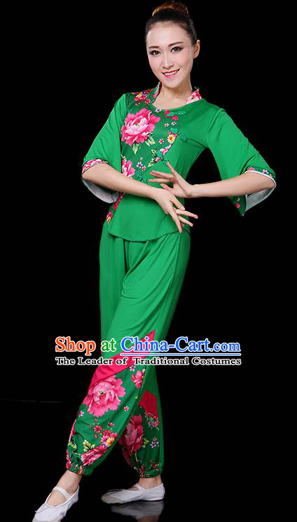 Traditional Chinese Yangge Fan Dance Green Uniform, China Classical Folk Yangko Drum Dance Clothing for Women