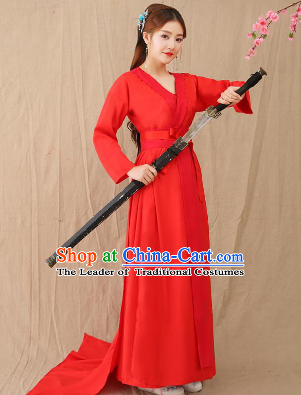 Traditional Chinese Han Dynasty Swordswoman Costume, China Ancient Princess Hanfu Clothing for Women