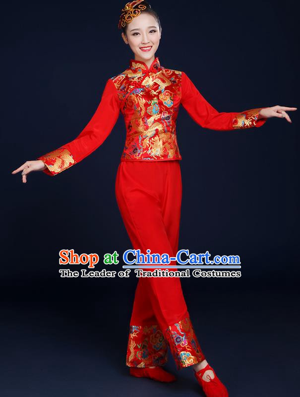 Traditional Chinese Folk Yangge Fan Classical Dance Red Uniform, China Yangko Drum Dance Clothing for Women