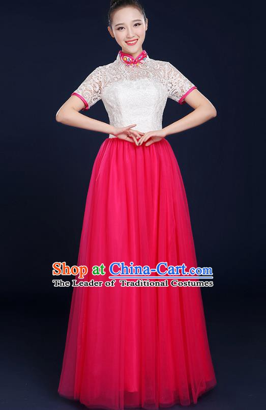 Traditional Chinese Modern Dance Opening Dance Lace Clothing Chorus Classical Dance Pink Dress for Women