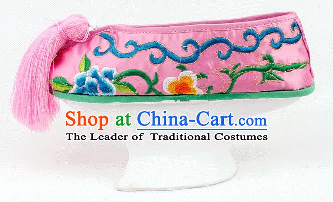 Asian Chinese Beijing Opera Actress Pink Embroidered Shoes, Traditional China Peking Opera Diva Hanfu Manchu Shoes