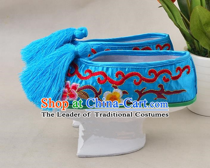 Asian Chinese Beijing Opera Actress Blue Embroidered Shoes, Traditional China Peking Opera Diva Hanfu Manchu Shoes
