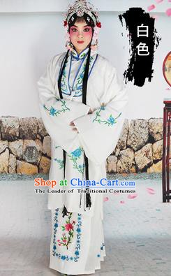 Chinese Beijing Opera Actress Costume White Embroidered Cape, Traditional China Peking Opera Diva Embroidery Clothing
