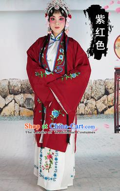 Chinese Beijing Opera Actress Costume Amaranth Embroidered Cape, Traditional China Peking Opera Diva Embroidery Clothing