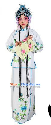 Chinese Beijing Opera Actress Embroidered Peony Costume, China Peking Opera Servant Girl Embroidery White Clothing