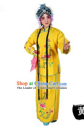 Chinese Beijing Opera Servant Girl Embroidered Yellow Costume, China Peking Opera Actress Embroidery Clothing