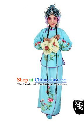 Chinese Beijing Opera Servant Girl Embroidered Light Blue Costume, China Peking Opera Actress Embroidery Clothing
