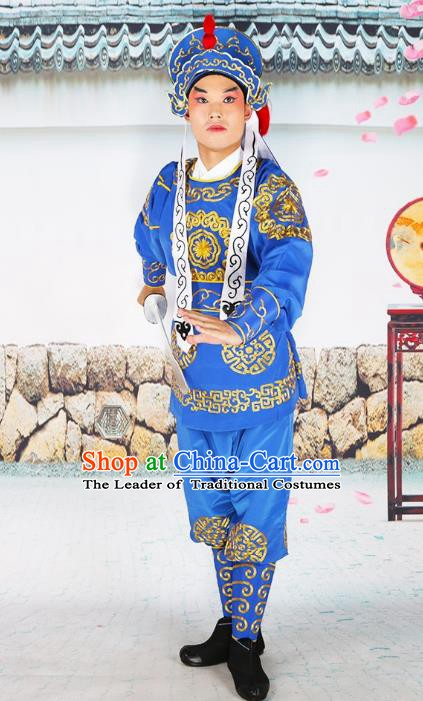Chinese Beijing Opera Takefu Embroidered Blue Costume, China Peking Opera Soldier Embroidery Clothing