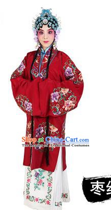 Chinese Beijing Opera Young Lady Embroidered Peony Costume, China Peking Opera Actress Embroidery Purplish Red Clothing