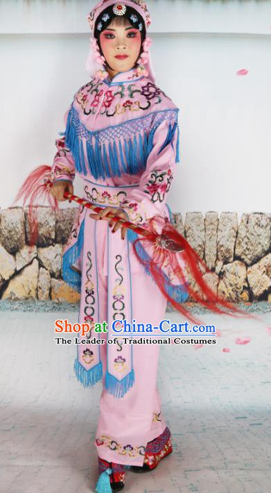 Chinese Beijing Opera Swordplay Embroidered Pink Costume, China Peking Opera Blues Embroidery Clothing