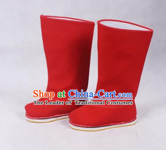 Asian Chinese Beijing Opera Minister Red Boots, Traditional China Peking Opera Chancellor Hanfu Shoes