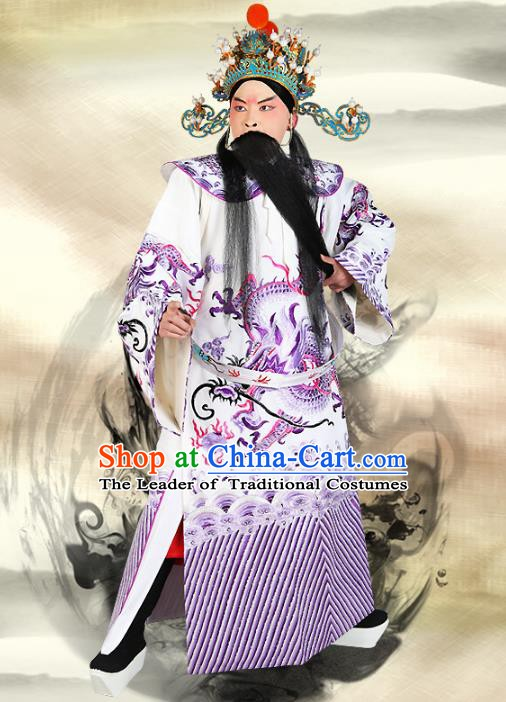 Chinese Beijing Opera Bao Zheng Costume Dragon White Embroidered Robe, China Peking Opera Prime Minister Embroidery Gwanbok Clothing