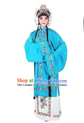 Chinese Beijing Opera Actress Costume Embroidered Blue Cape, Traditional China Peking Opera Nobility Lady Embroidery Clothing